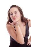 Menina bonita que funde um beijo Foto de Stock Royalty Free
