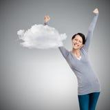Menina bonita que gesticula os punhos triunfais Fotografia de Stock Royalty Free