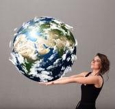 Menina bonita que guardara a terra do planeta 3d Fotos de Stock