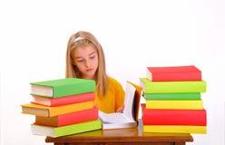 Menina bonita que lê um livro Fotos de Stock Royalty Free