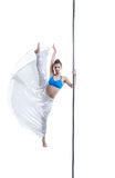 Menina bonita que levanta na separação do vertical no polo Imagem de Stock