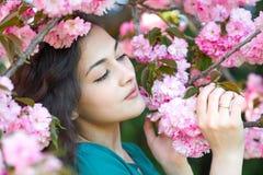A menina bonita que levanta perto de sakura cor-de-rosa floresce como o fundo, close up da cara, paisagem da mola Imagem de Stock