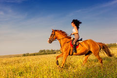 Menina bonita que monta um cavalo fotos de stock royalty free
