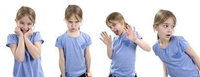 Menina que mostra emoções diferentes Fotografia de Stock Royalty Free