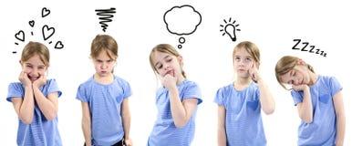 Menina que mostra emoções diferentes Imagens de Stock