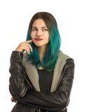 Menina bonita que olham dianteira e pensamento Imagens de Stock Royalty Free