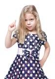 Menina bonita restrita com o cabelo louro isolado fotos de stock royalty free