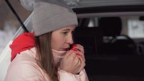 A menina bonita senta-se no carro no dia de inverno ensolarado na floresta aquece as m?os com respira??o filme