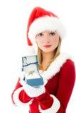 Menina bonita vestida como Santa com as chaves fotografia de stock
