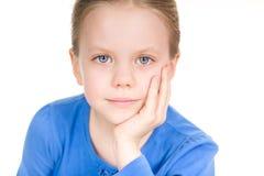 Menina bonito adorável no azul Imagem de Stock