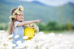 Menina bonito com as margaridas brancas da cubeta amarela foto de stock royalty free