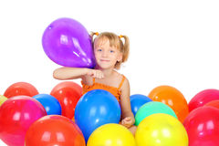 Menina bonito com baloons Fotos de Stock Royalty Free