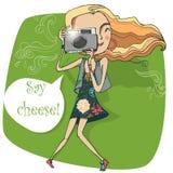 Menina bonito com câmera Imagem de Stock Royalty Free