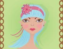 Menina bonito com cabelo azul Imagem de Stock Royalty Free