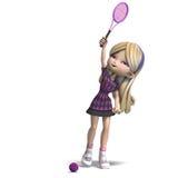 A menina bonito com cabelo longo joga o tênis Imagem de Stock