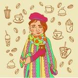 Menina bonito com café Tempo do café ilustração royalty free