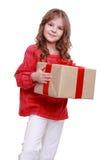 Menina bonito com caixa de presente Imagem de Stock