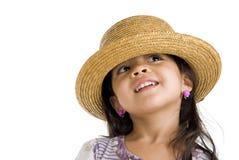 Menina bonito com chapéu de palha imagens de stock royalty free