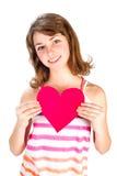 Menina bonito com coração do Valentim Foto de Stock
