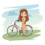 Menina bonito com desenhos animados da bicicleta ilustração do vetor