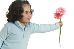 Menina bonito com flor Imagens de Stock Royalty Free