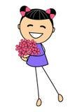 Menina bonito com flores Fotografia de Stock