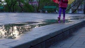 A menina bonito com guarda-chuva colorido está correndo através das poças no parque no por do sol filme