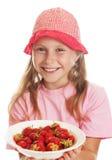 Menina bonito com a morango Foto de Stock
