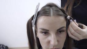 Menina bonito com o cabeleireiro moreno longo do cabelo que faz a laminação do cabelo em um salão de beleza conceito do tratament vídeos de arquivo