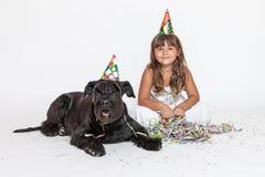 Menina bonito com o cão preto de encontro no branco Fotografia de Stock