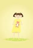 Menina bonito com o urso de peluche em suas mãos Vetor ilustração stock