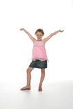 Menina bonito com os braços levantados Fotografia de Stock