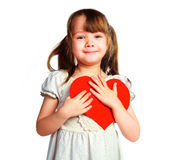 Menina bonito com um cartão do Valentim Imagens de Stock Royalty Free