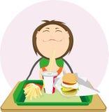 Menina bonito com um Hamburger. Foto de Stock
