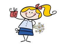 Menina bonito com um presente e as flores Fotos de Stock