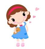 Menina bonito com urso de peluche ilustração royalty free