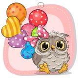 Menina bonito da coruja dos desenhos animados com balões ilustração royalty free