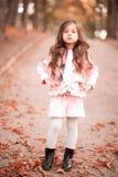 Menina bonito da criança que levanta no parque do outono Imagens de Stock Royalty Free