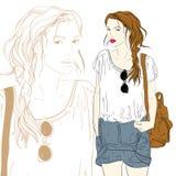 Menina bonito da forma com ilustração do saco Fotos de Stock Royalty Free