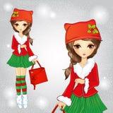 Menina bonito da forma vestida em Santa Claus Costume Ilustração Stock