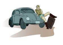 Menina bonito da garatuja com uma mala de viagem no vetor ilustração do vetor