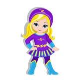 Menina bonito da ilustração no traje de um super-herói ilustração royalty free