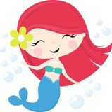 Menina bonito da sereia com bolhas ilustração royalty free