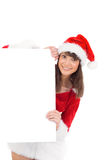 Menina bonito de Santa que guarda o cartaz Imagens de Stock Royalty Free
