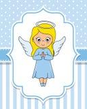 Menina bonito do anjo com asas ilustração stock