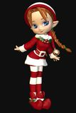 Menina bonito do duende do Xmas de Toon do ajudante de Santa Fotos de Stock Royalty Free