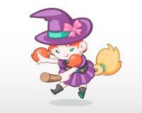 Menina bonito do estilo na ilustração do traje da bruxa ilustração royalty free