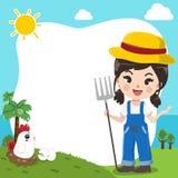 Menina bonito do fazendeiro no molde ilustração stock
