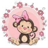 Menina bonito do macaco do cartão ilustração royalty free