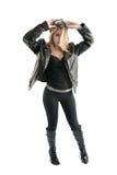 Menina bonito do motociclista no revestimento preto, de couro, óculos de proteção. Imagem de Stock